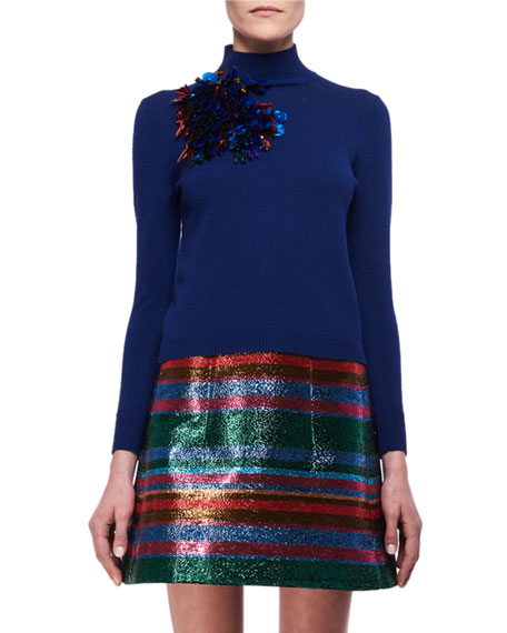 Delpozo Embellished Mock-Neck Merino Wool Sweater