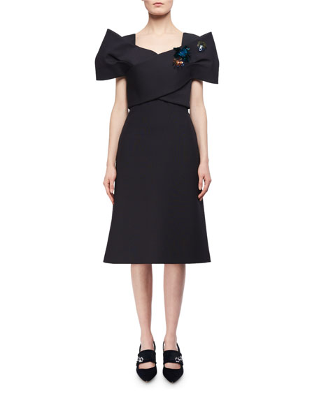 Bow-Bodice Wool-Silk A-Line Cocktail Dress
