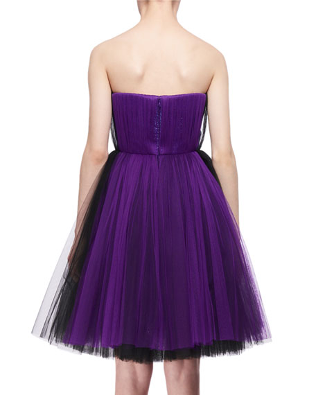 Bicolor Tulle Strapless Dress