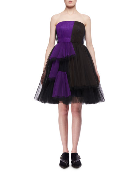 Delpozo Bicolor Tulle Strapless Dress