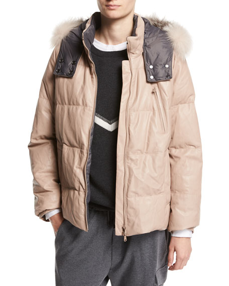Brunello Cucinelli Leather Puffer Jacket with Fur-Trim Hood