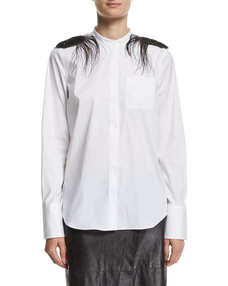 Brunello Cucinelli Poplin Mandarin-Collar Shirt with Feather