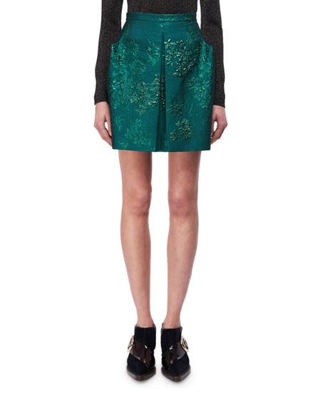 Delpozo Metallic Floral Jacquard Miniskirt