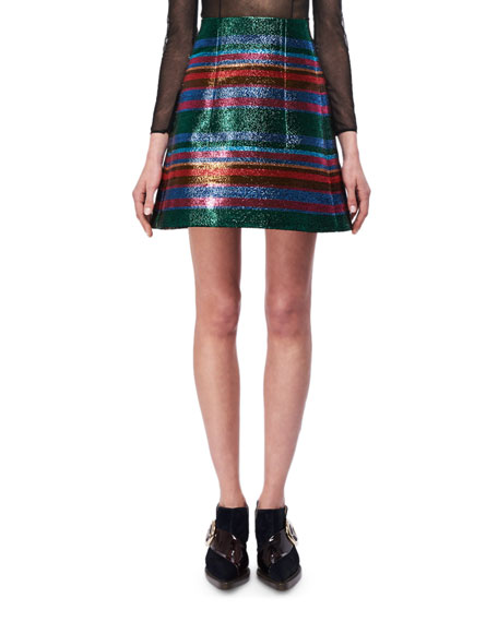Delpozo Metallic Striped A-Line Miniskirt