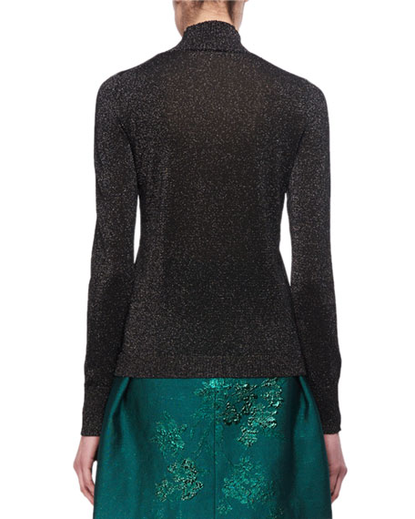 Embellished Metallic Mock-Neck Sweater