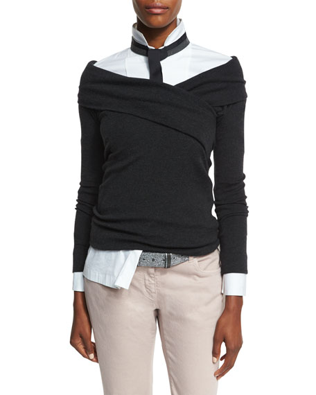Brunello Cucinelli Cashmere-Blend Crossover Sweater