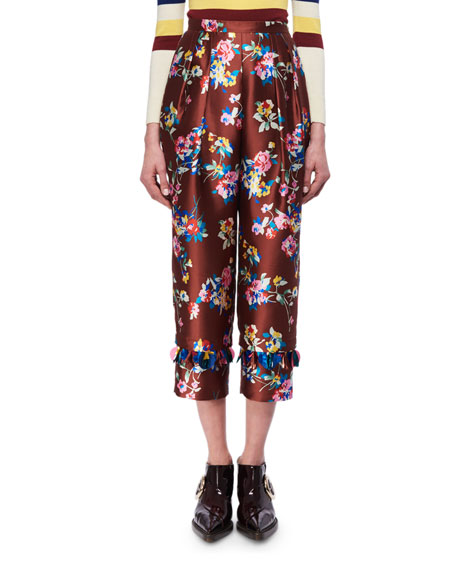 Floral-Print Shantung Cropped Pants