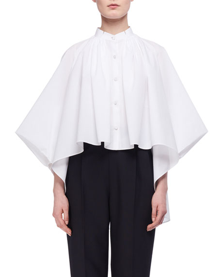 Cotton Poplin Cape Blouse