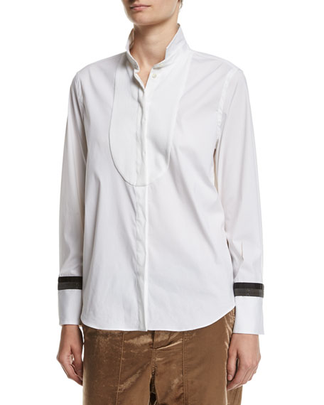 Brunello Cucinelli Poplin Blouse with Monili Cuffs