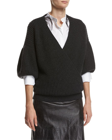 Brunello Cucinelli English-Rib Cashmere Balloon-Sleeve Pullover