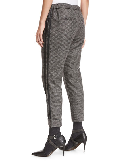 Houndstooth Wool Jogger Pants