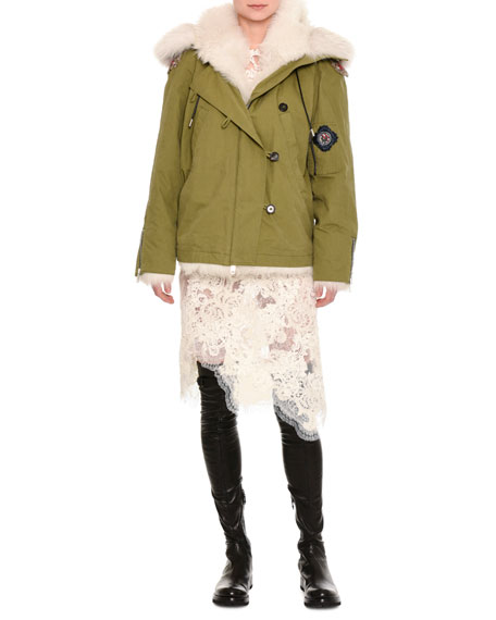 Ermanno Scervino Fur-Lined Parka with Patches, Olive
