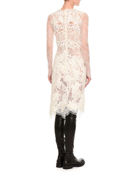 Mixed-Lace Long-Sleeve Dress