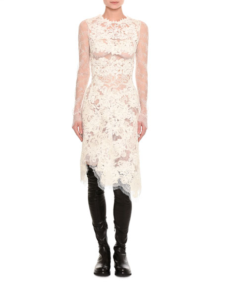 Ermanno Scervino Mixed-Lace Long-Sleeve Dress