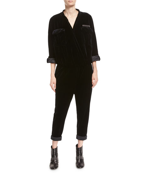 Brunello Cucinelli Velvet Monili-Trim Utility Jumpsuit and
