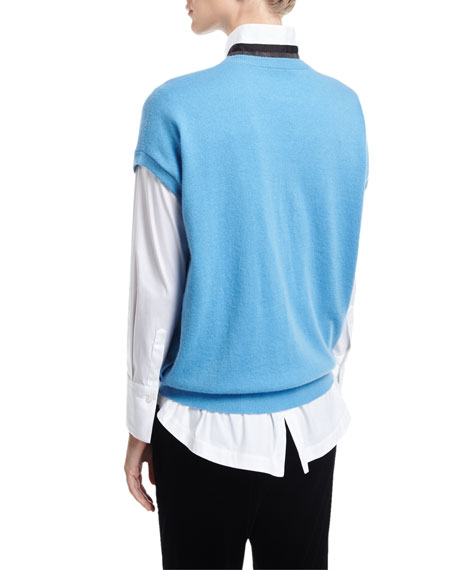 Cashmere Cap-Sleeve Pullover with Monili Stripe