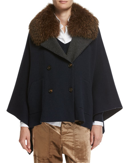 Cashmere Double-Breasted Poncho with Fox Collar