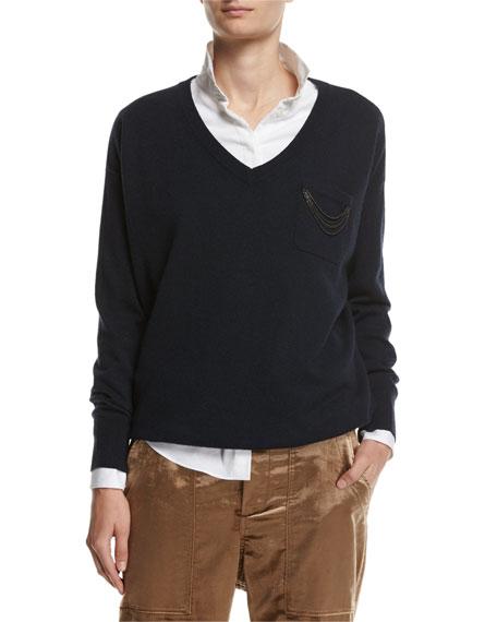 Cashmere Monili-Strand V-Neck Pullover