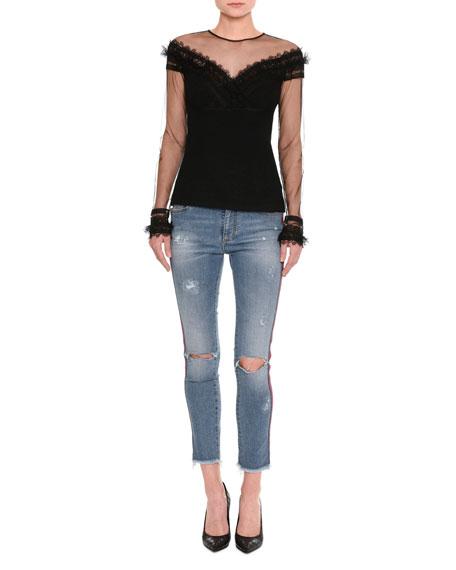 Distressed Side-Stripe Skinny Jeans, Indigo