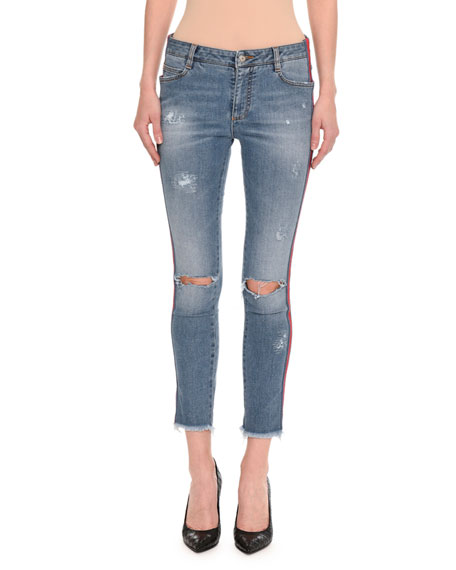 Ermanno Scervino Distressed Side-Stripe Skinny Jeans, Indigo and