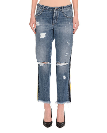 Ermanno Scervino Distressed Side-Stripe Cropped Boyfriend Jeans,