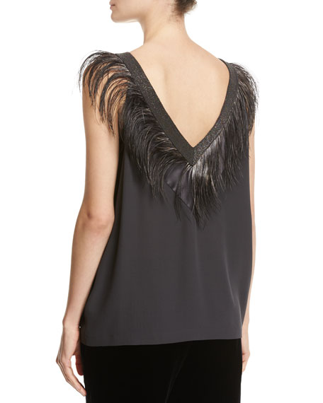 Feather & Monili Double-V Silk Tank
