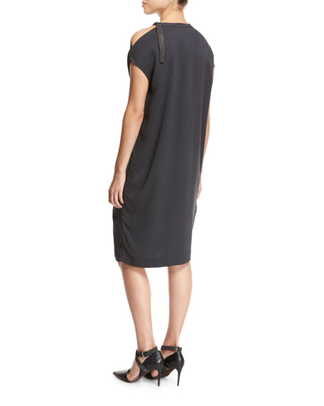 Cold-Shoulder Monili-Trim Silk Crepe Shift Dress