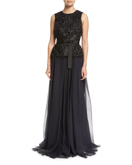 Fil Coupe Belted Gown with Organza Skirt