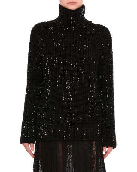 Ermanno Scervino Beaded Ribbed Turtleneck Sweater