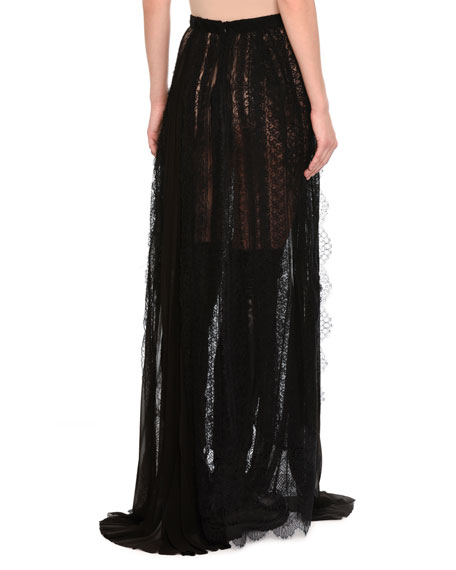 Paneled & Layered Lace Maxi Skirt