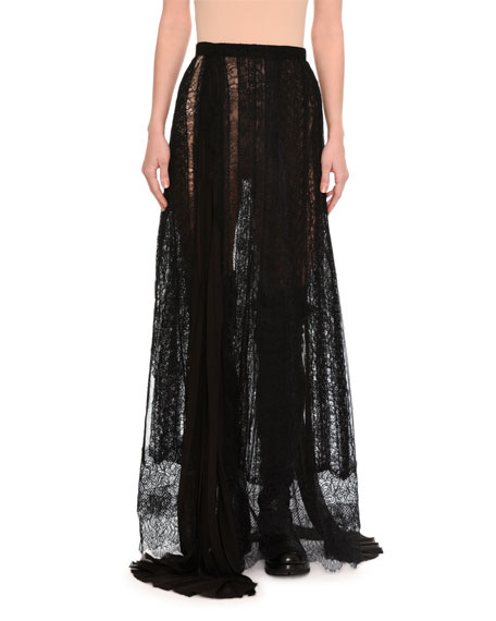 Ermanno Scervino Paneled & Layered Lace Maxi Skirt