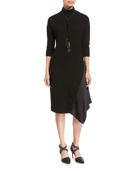 Wool Jersey Mock-Neck Dress with Satin Inset
