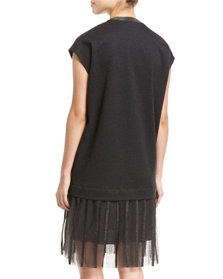 Wool-Cotton Cap-Sleeve Dress with Lurex® Hem
