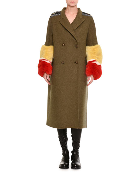 Double-Breasted Military Coat with Fur Cuffs