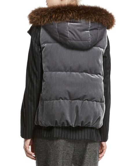 Velvet Puffer Vest with Fur-Trim Hood