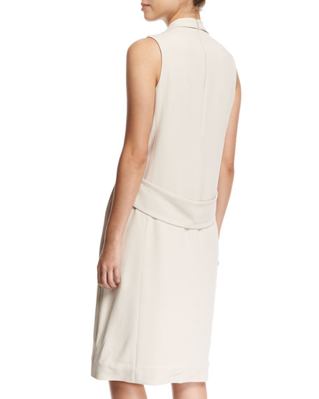 Silk Crepe Vest Dress with Feather Trim