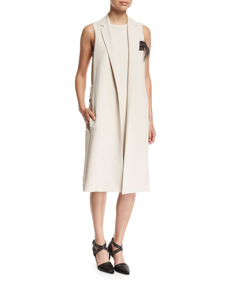 Brunello Cucinelli Silk Crepe Vest Dress with Feather