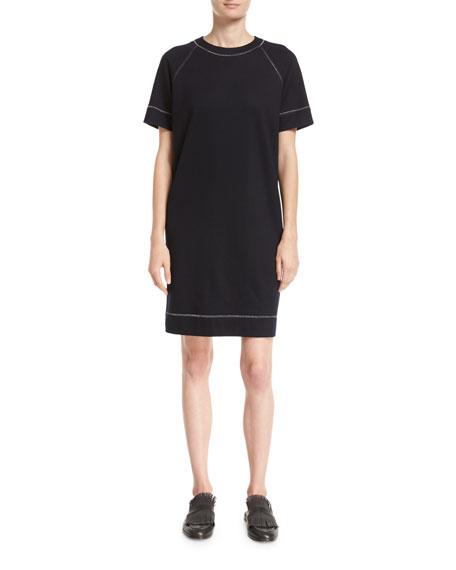 Brunello Cucinelli Wool-Cotton T-Shirt Dress with Lurex?? Trim