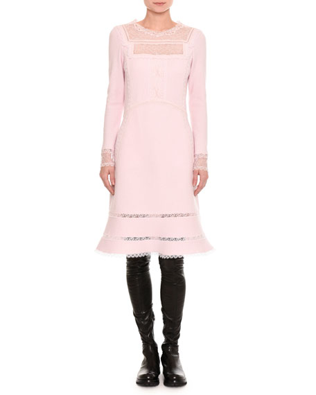 Ermanno Scervino Pashmina Lace-Inset Long-Sleeve Dress and