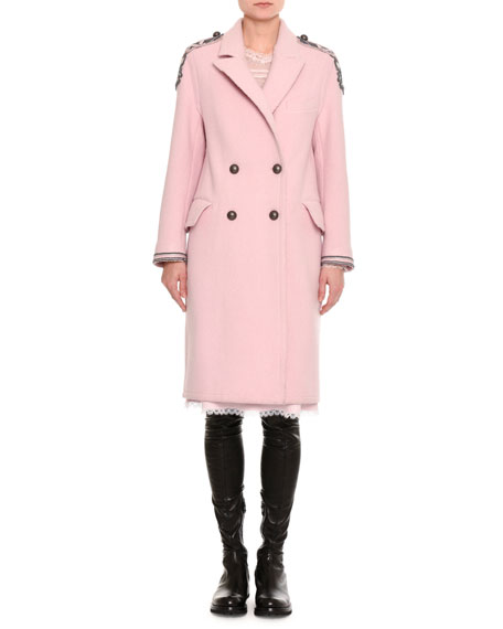 Embroidered Double-Breasted Virgin Wool Coat