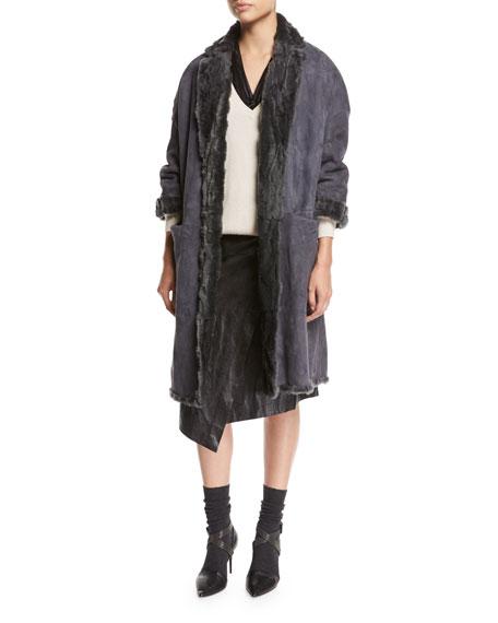 Leather Faux-Wrap Midi Skirt