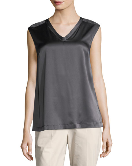 Silk-Blend V-Neck Shell, Charcoal