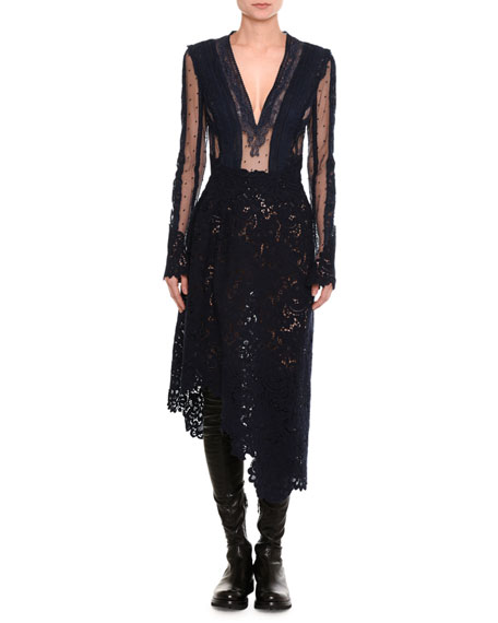 Ermanno Scervino Mixed-Lace Long-Sleeve Midi Dress