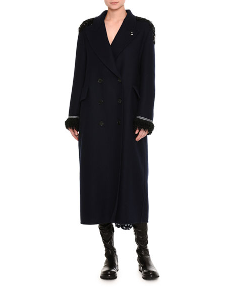 Ermanno Scervino Beaded Double-Breasted Virgin Wool Overcoat