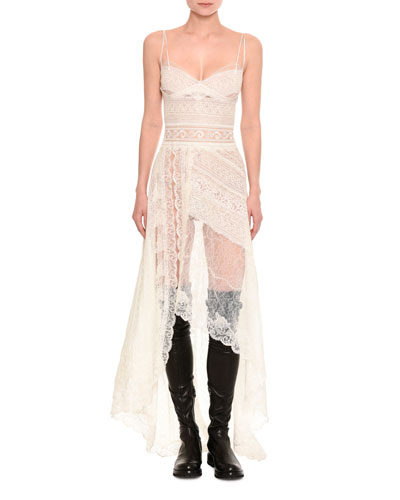 Mixed-Lace Asymmetric-Hem Gown