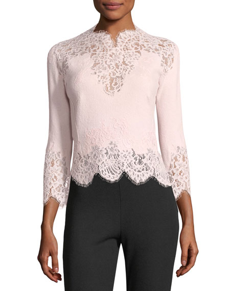 Ermanno Scervino 3/4-Sleeve Scalloped Lace Top