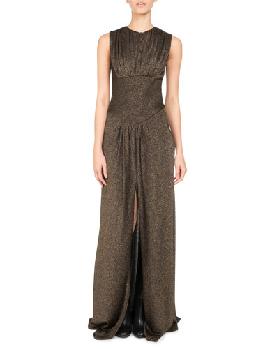 Metallic Jersey Slit-Front Gown, Gold