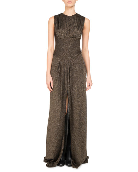 Pascal Millet Metallic Jersey Slit-Front Gown, Gold