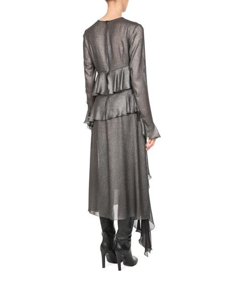 Metallic Ruffle-Trim Midi Dress, Silver