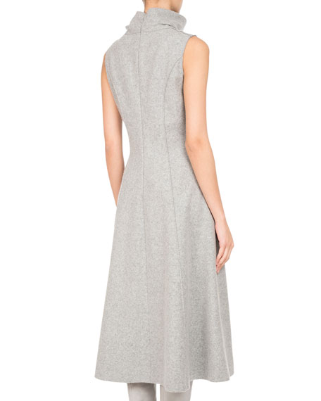 Sleeveless Wool Jersey Turtleneck Midi Dress, Gray